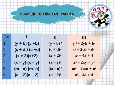 ИССЛЕДОВАТЕЛЬСКАЯ РАБОТА № I 1. (y + b) (y +b) 2. (с + d ) (c +d) 3. (х + 2)(...