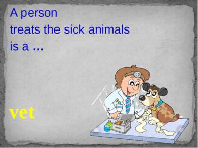 A person treats the sick animals is a … vet