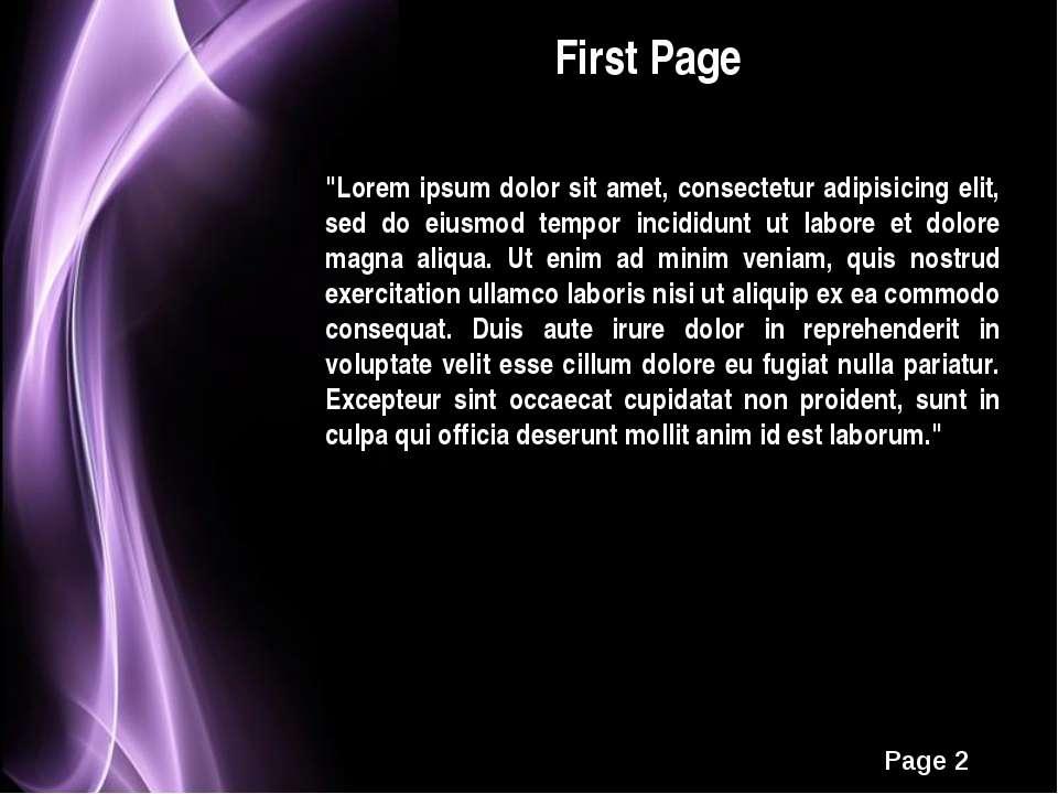 "First Page ""Lorem ipsum dolor sit amet, consectetur adipisicing elit, sed do ..."