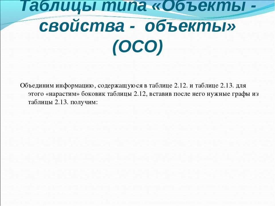 Таблицы типа «Объекты - свойства - объекты» (ОСО) Объединим информацию, содер...
