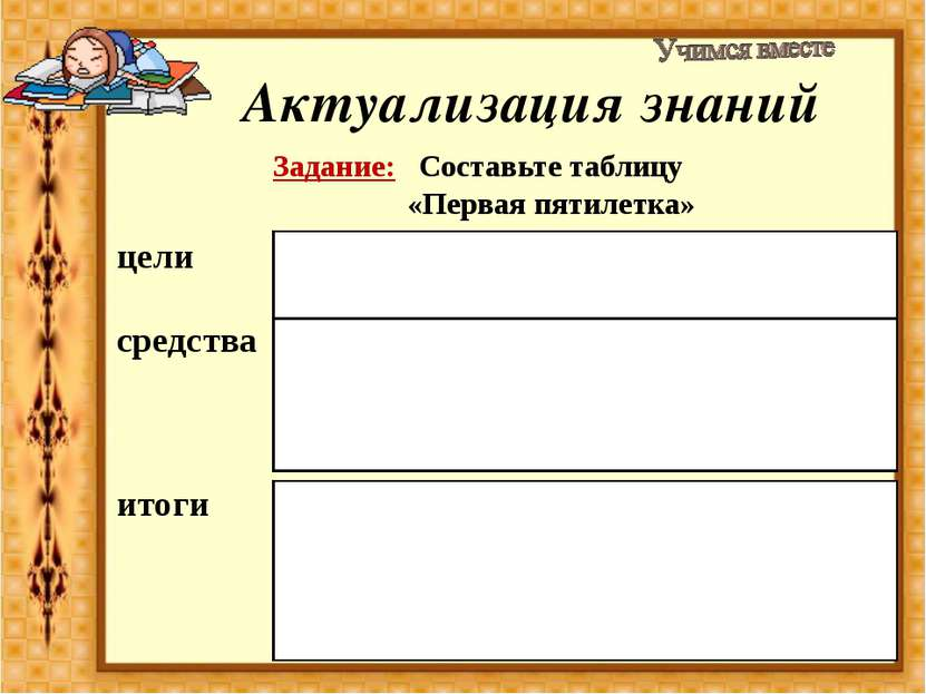 Актуализация знаний Задание: Составьте таблицу «Первая пятилетка» цели создан...