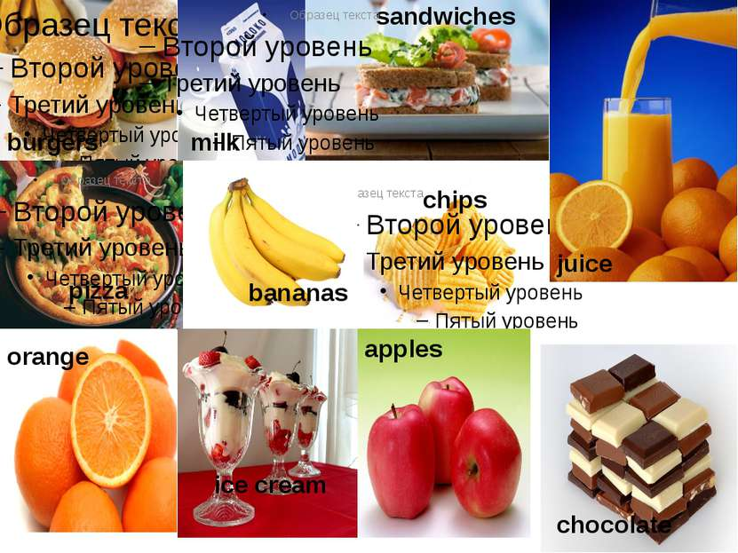 burgers chips sandwiches pizza milk juice orange bananas ice cream chocolate ...