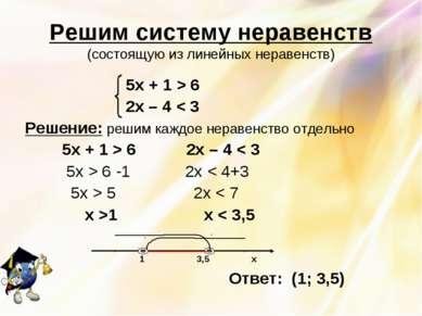 Решим систему неравенств (состоящую из линейных неравенств) 5х + 1 > 6 2х – 4...