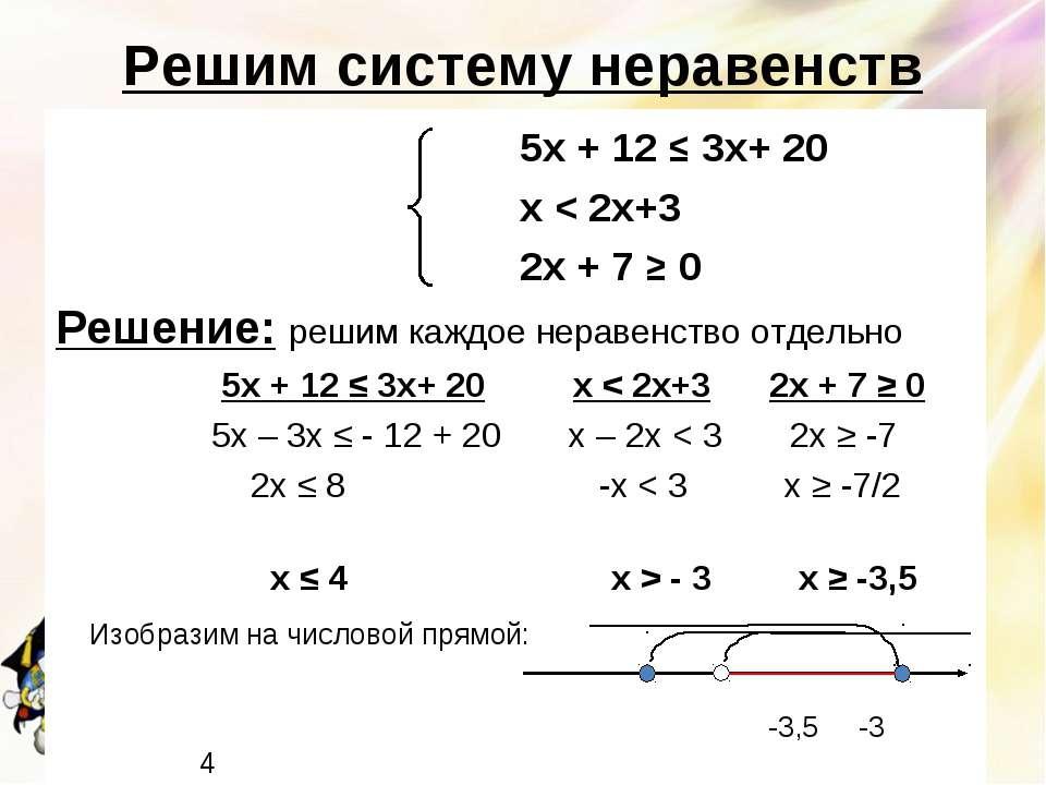 Решим систему неравенств 5х + 12 ≤ 3х+ 20 х < 2х+3 2х + 7 ≥ 0 Решение: решим ...