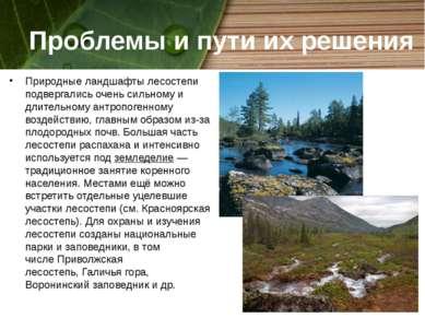 Проблемы и пути их решения Природные ландшафтылесостепи подвергались очень с...
