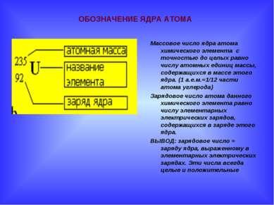 . ОБОЗНАЧЕНИЕ ЯДРА АТОМА Массовое число ядра атома химического элемента с точ...