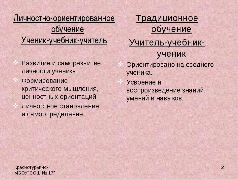 """Краснотурьинск МБОУ""""СОШ № 17"""" * Традиционное обучение Учитель-учебник-ученик ..."""