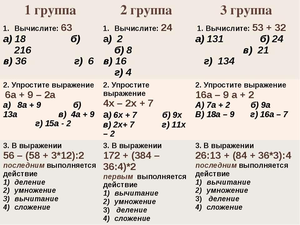 1 группа 2 группа 3 группа Вычислите:63 а) 18 б) 216 в) 36 г) 6 Вычислите:24 ...