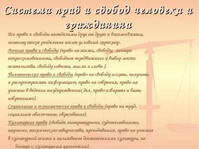 Система прав и свобод человека и гражданина Все права и свободы неотделимы др...