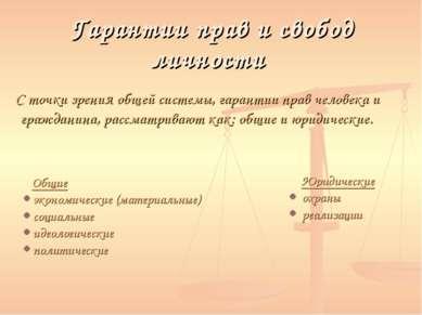 Гарантии прав и свобод личности С точки зрения общей системы, гарантии прав ч...