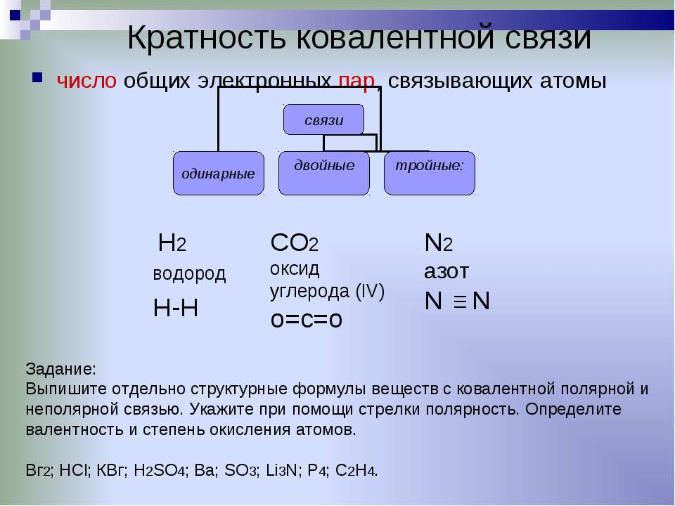 Кратность ковалентной связи число общих электронных пар, связывающих атомы CO...
