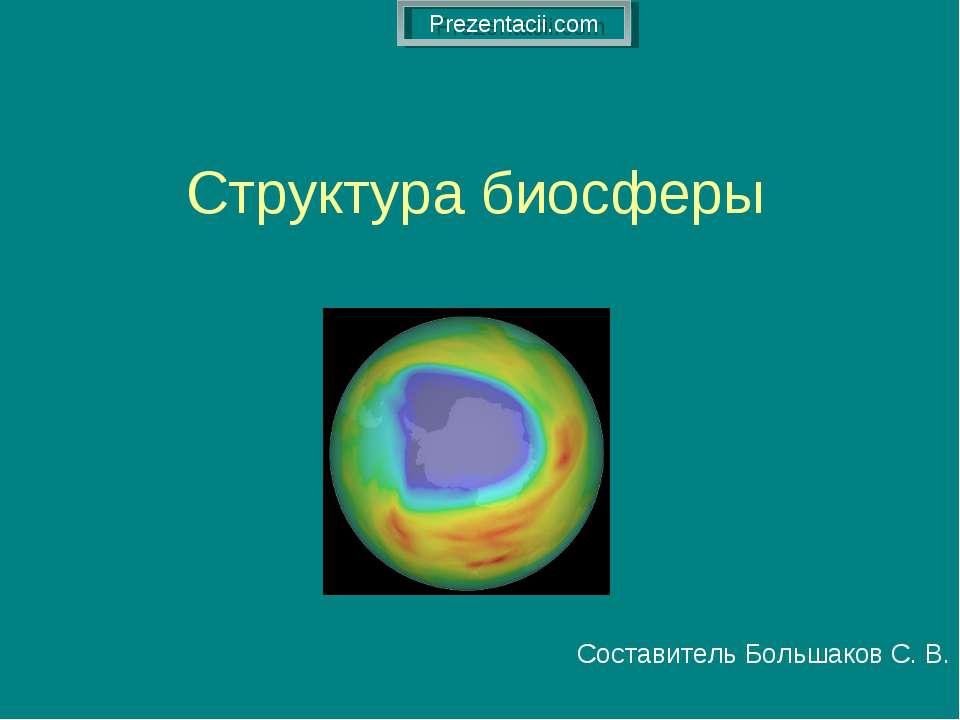 Структура биосферы Составитель Большаков С. В.