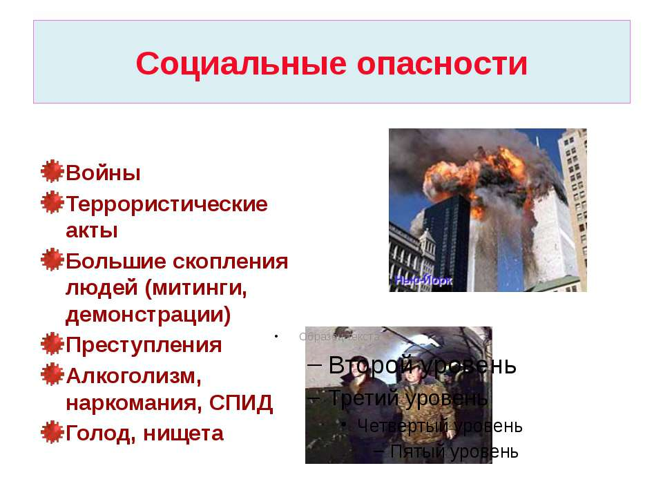 Социальные опасности Войны Террористические акты Большие скопления людей (мит...