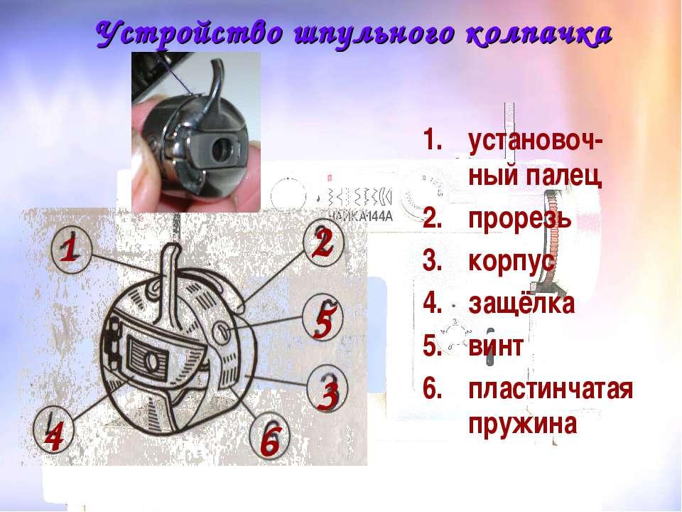 Устройство шпульного колпачка установоч-ный палец прорезь корпус защёлка винт...