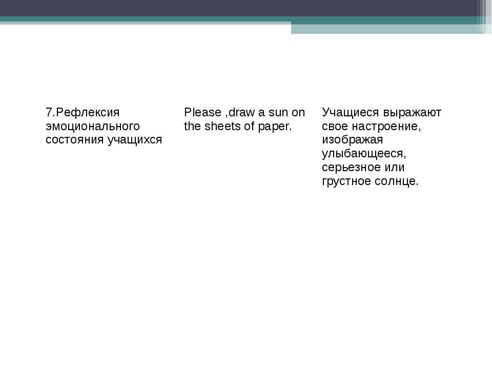 7.Рефлексия эмоционального состояния учащихся Please ,draw a sun on the sheet...