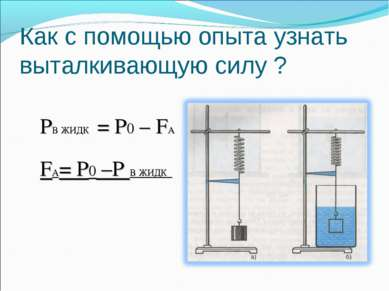 Как с помощью опыта узнать выталкивающую силу ? РВ ЖИДК = Р0 – FА FА= Р0 –Р В...