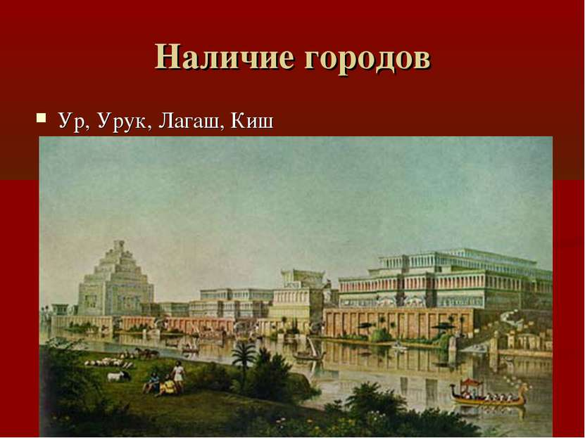 Наличие городов Ур, Урук, Лагаш, Киш