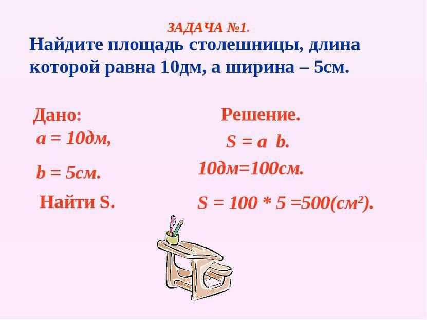 Найдите площадь столешницы, длина которой равна 10дм, а ширина – 5см. Дано: a...