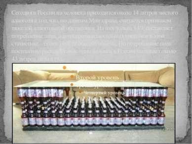 Сегодня в России на человека приходится около 14 литров чистого алкоголя в го...