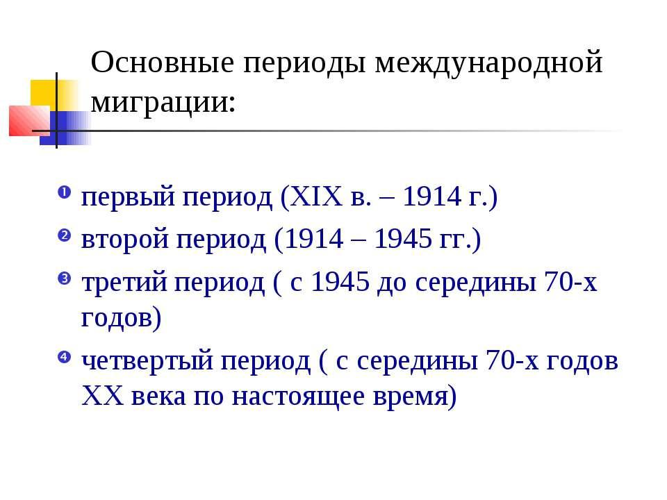 Основные периоды международной миграции: первый период (ХIХ в. – 1914 г.) вто...