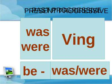 PRESENT PROGRESSIVE Ving am is are be - was/were was were PAST PROGRESSIVE