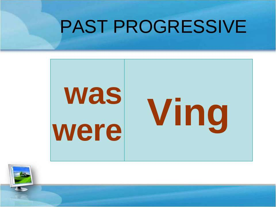 PAST PROGRESSIVE Ving was were