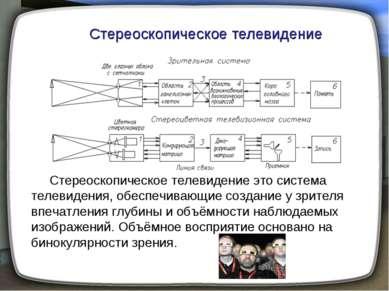 Стереоскопическое телевидение Стереоскопическое телевидение это система телев...