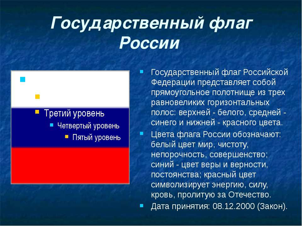 Государственный флаг России Государственный флаг Российской Федерации предста...