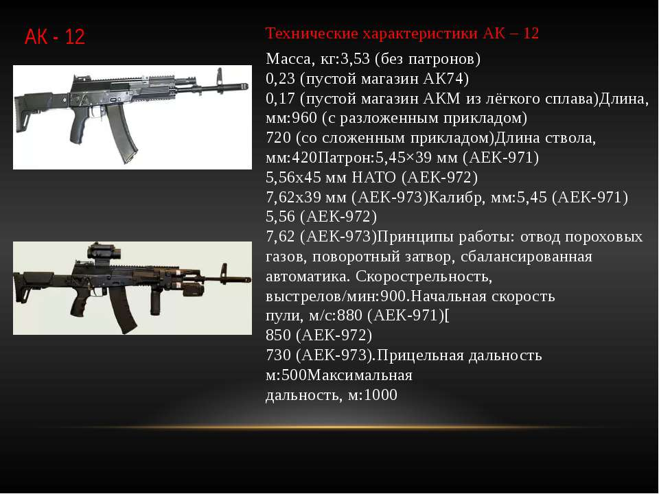 АК - 12 Технические характеристики АК – 12 Масса, кг:3,53 (без патронов) 0,23...