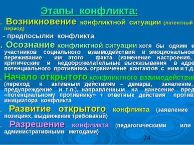 Этапы конфликта: 1. Возникновение конфликтной ситуации (латентный период) - п...
