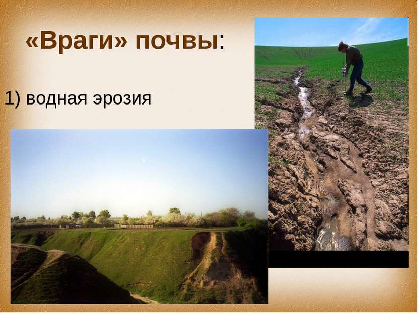 «Враги» почвы: 1) водная эрозия