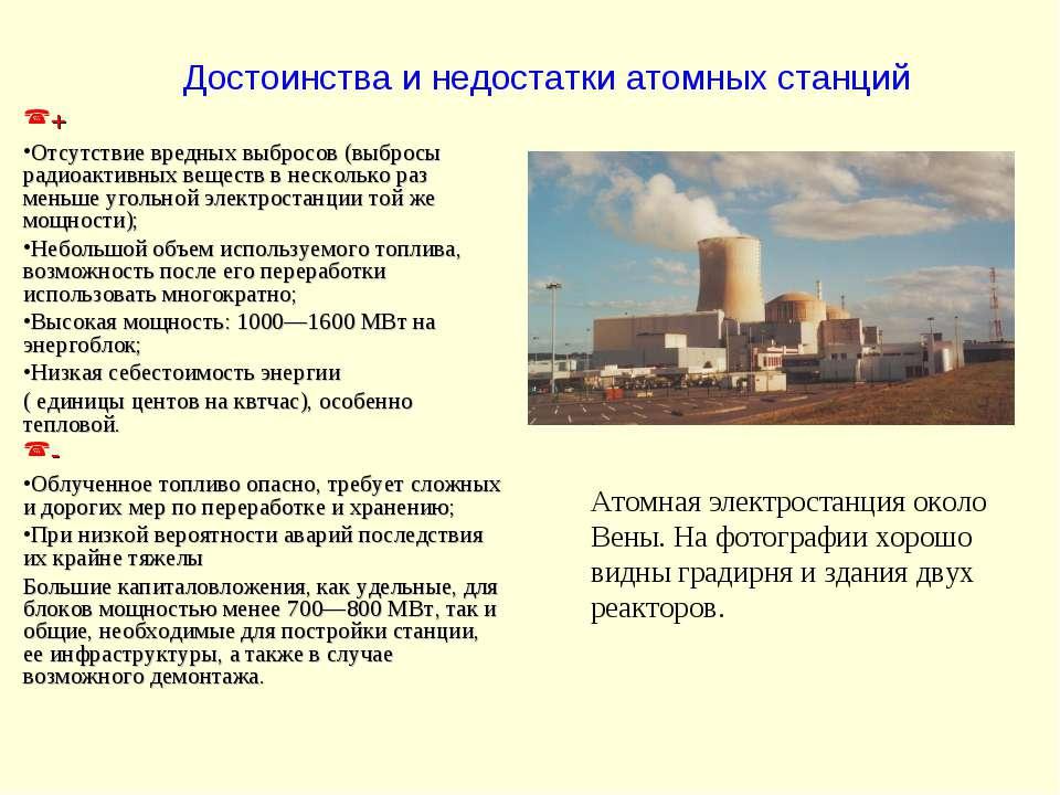 Достоинства и недостатки атомных станций Атомная электростанция около Вены. Н...
