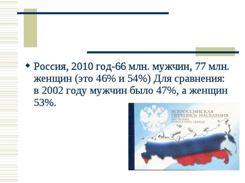 Россия, 2010 год-66 млн. мужчин, 77 млн. женщин (это 46% и 54%) Для сравнения...