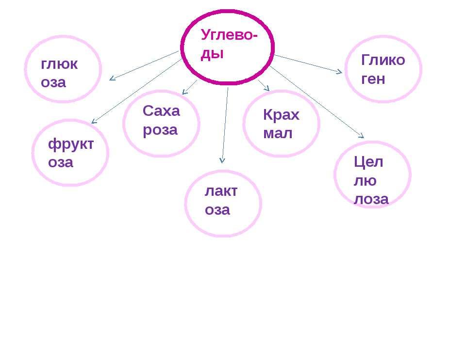 Углево-ды глюкоза фруктоза Саха роза лактоза Крах мал Глико ген Цел лю лоза