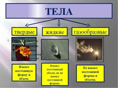 ТЕЛА твердые жидкие газообразные Имеют постоянную форму и объем. Имеют постоя...