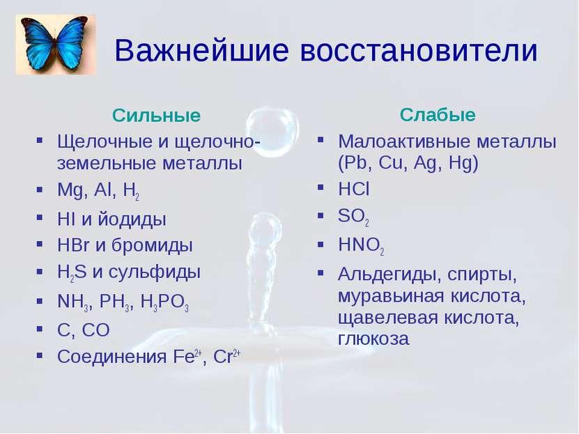 Сильные Щелочные и щелочно-земельные металлы Mg, Al, H2 HI и йодиды HBr и бро...