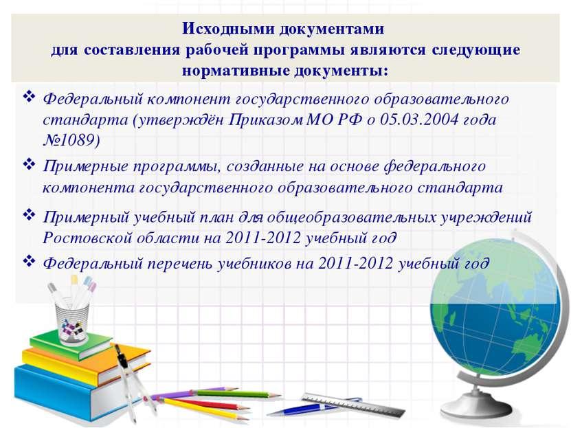 Исходными документами для составления рабочей программы являются следующие но...