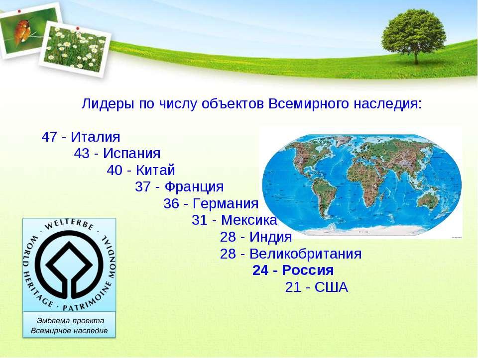 Лидеры по числу объектов Всемирного наследия: 47 - Италия 43 - Испания 40 - К...