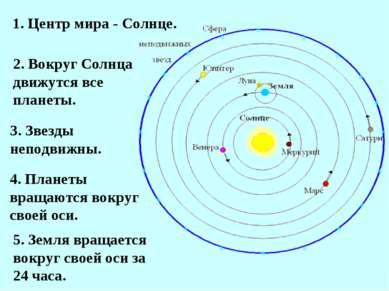 1. Центр мира - Солнце. 2. Вокруг Солнца движутся все планеты. 3. Звезды непо...