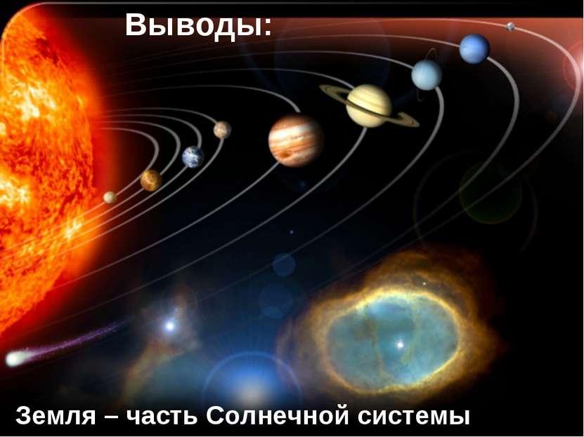 Земля – часть Солнечной системы Выводы: