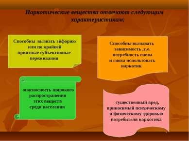 Наркотические вещества отвечают следующим характеристикам: Способны вызвать э...