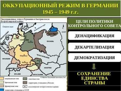 ОККУПАЦИОННЫЙ РЕЖИМ В ГЕРМАНИИ 1945 – 1949 г.г. ЦЕЛИ ПОЛИТИКИ КОНТРОЛЬНОГО СО...