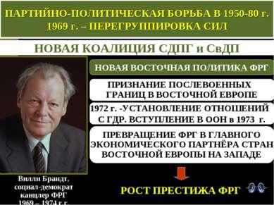 ПАРТИЙНО-ПОЛИТИЧЕСКАЯ БОРЬБА В 1950-80 г. 1969 г. – ПЕРЕГРУППИРОВКА СИЛ НОВАЯ...