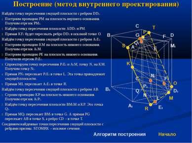 Построение (метод внутреннего проектирования) Найдём точку пересечения секуще...