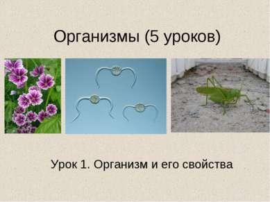 Организмы (5 уроков) Урок 1. Организм и его свойства