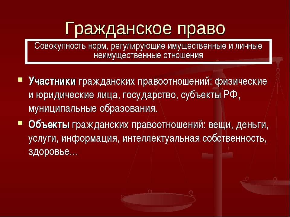 Гражданское право Участники гражданских правоотношений: физические и юридичес...