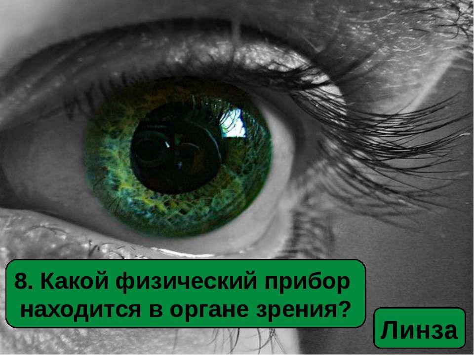 8. Какой физический прибор находится в органе зрения? Линза