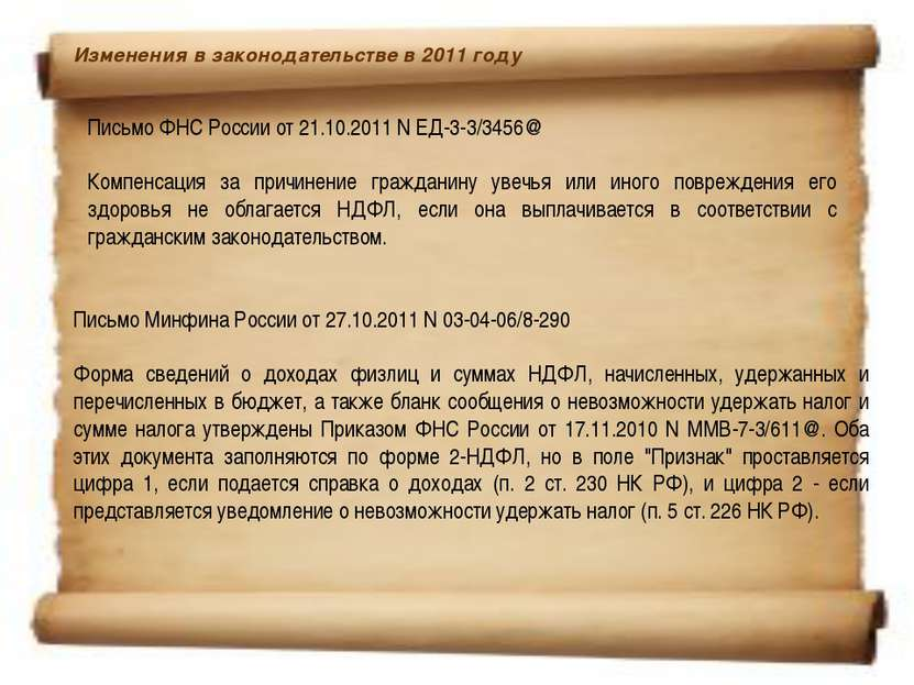 Изменения в законодательстве в 2011 году Письмо ФНС России от 21.10.2011 N Е...