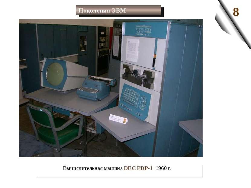 Вычислительная машина DEC PDP-1 1960 г. Поколения ЭВМ