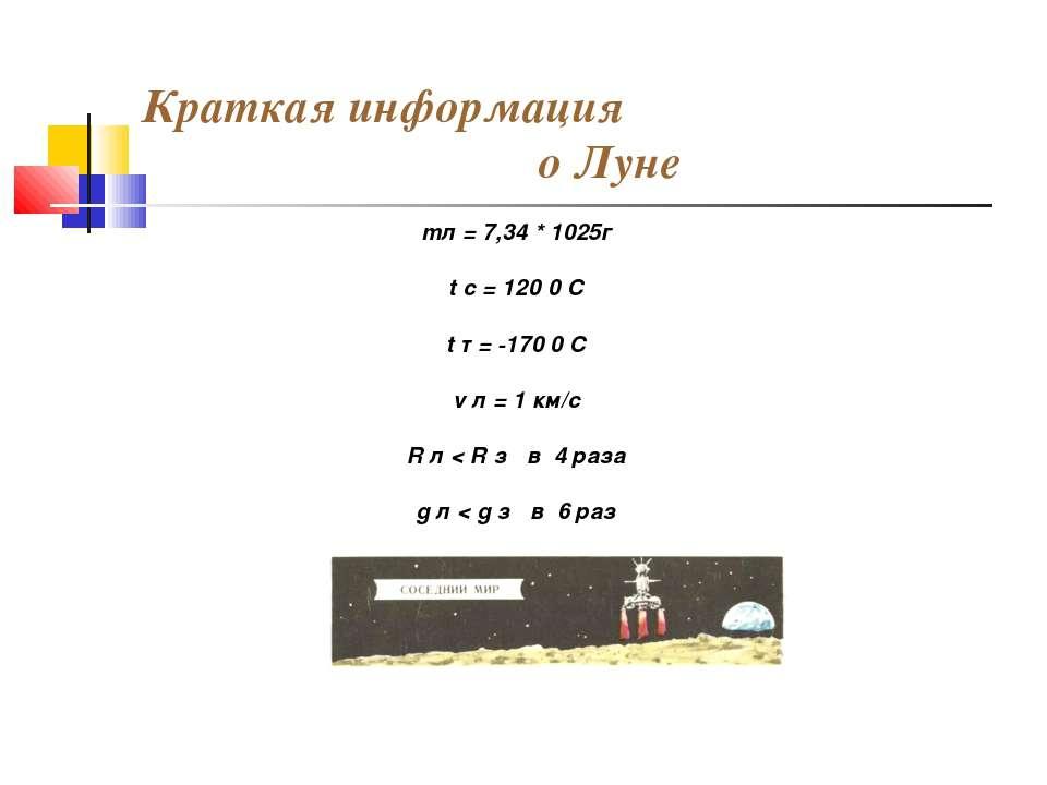 Краткая информация о Луне mл = 7,34 * 1025г t c = 120 0 C t т = -170 0 C v л ...
